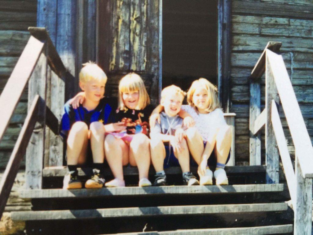 Kusinerna, från vänster:0 Anton och Anna Östman, Patrik och Mikaela Sjöberg